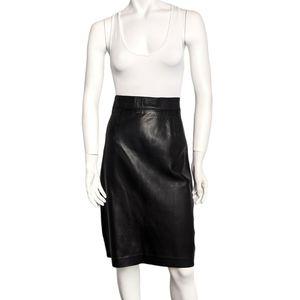 Danier high waisted black leather pencil skirt